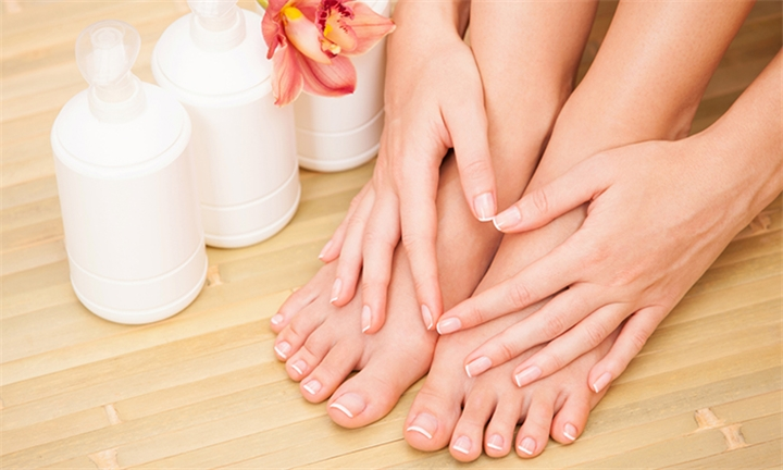 Choice of Glam Spa Deluxe Manicure and/or Pedicure with Gel Overlay at Glam Goddess Nail and Beauty Salon