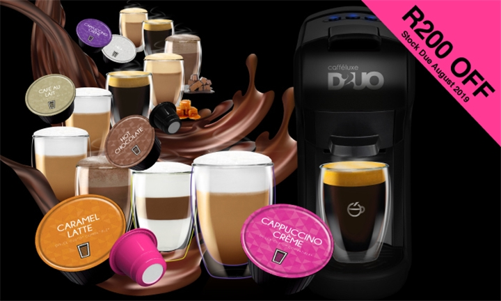 Pay R20 and Get R200 Discount towards The NEW Duo Multi System Capsule Machine at Cafféluxe