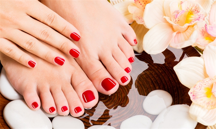 Manicure or Pedicure with Acrylic Tips for One