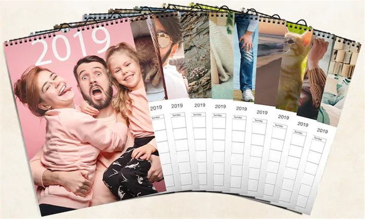 12-Page Spiral Bound Personalised A4 Photo Calendar from Mojo printing
