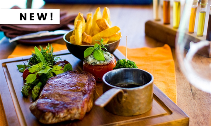 350g Greek-Style Ribeye Steak with Sides, Dips and Dessert each for up to Four at Simply Greek Stellenbosch