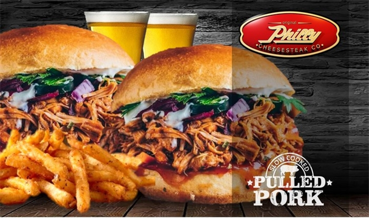 2 Pulled Pork Gourmet Burgers with Chips & Sparkling Apple Juice from Fatboy Burgers
