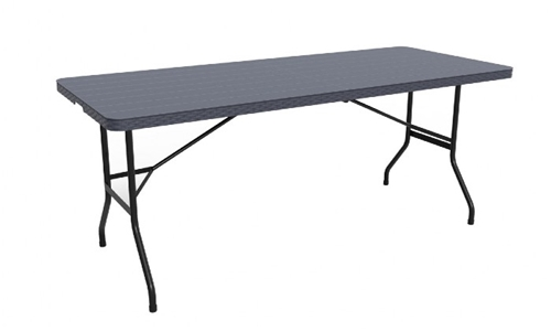 Fine Living 1.8m Folding Table – Black Slatted Em Including Delivery