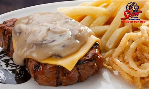 Pick-Up or Delivery: Cheddamelt Steak with Cheese, Fries & Sauce to Make-at-Home from Chippewa Spur Steak Ranch
