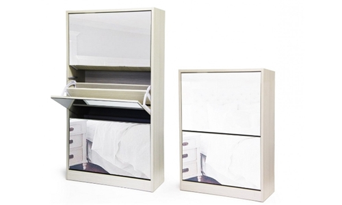 Fine Living Mirror Shoe Cabinet – 3 & 2-Tier Including Delivery