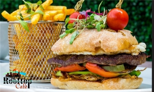 Sit-Down or Pick-Up: Choice of Burger with Chips from The Rooftop Restaurant