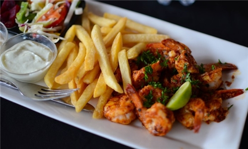 Prawn Platter with Glass of Wine each at The Canal Café – aha Harbour Bridge Hotel & Suites