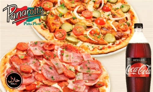 Takeaway Family Feast: 2 or 3 Large Classic Pizzas Including Coca-Cola from Panarottis Kenilworth Centre