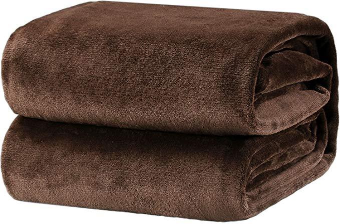 Bedsure Fleece Blanket Twin Size Brown Lightweight Throw Blanket Super Soft Cozy Microfiber Blanket