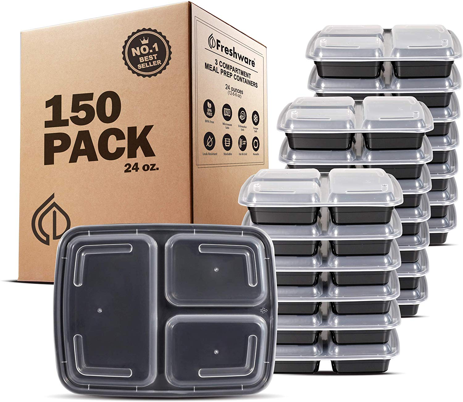 Freshware Meal Prep Containers [150 Pack] 3 Compartment with Lids, Food Storage Containers, Bento Box | BPA Free | Stackable | Microwave/Dishwasher/Freezer Safe, Portion Control, 21 Day Fix (24 oz)