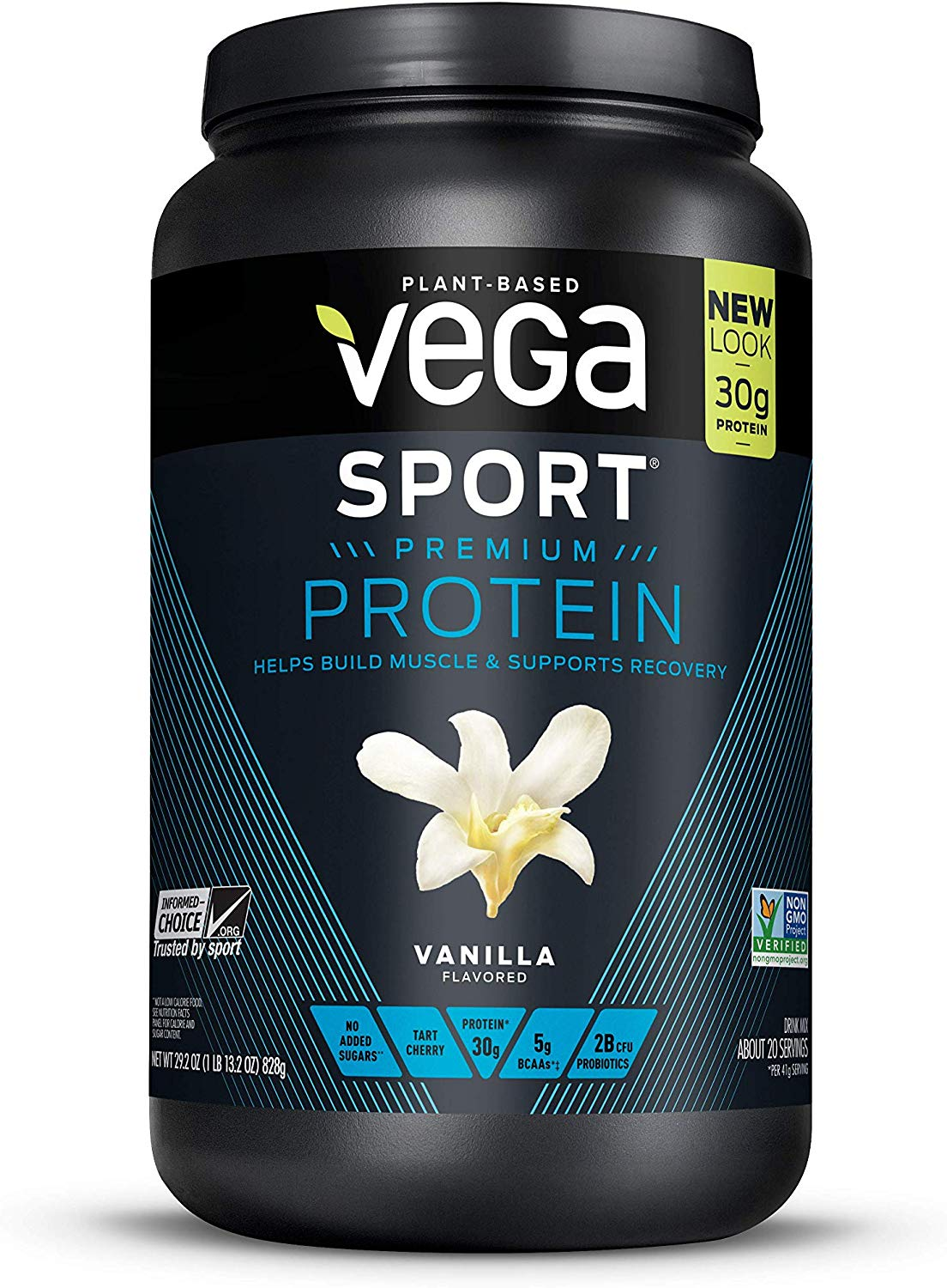 Vega Sport Premium Protein, Vanilla, 20 Servings, 29.2 Ounce (Pack of 1), Plant-Based Vegan Protein Powder, BCAAs, Amino Acid, tart cherry, Non Whey, Gluten Free, Non GMO (Packaging May Vary)