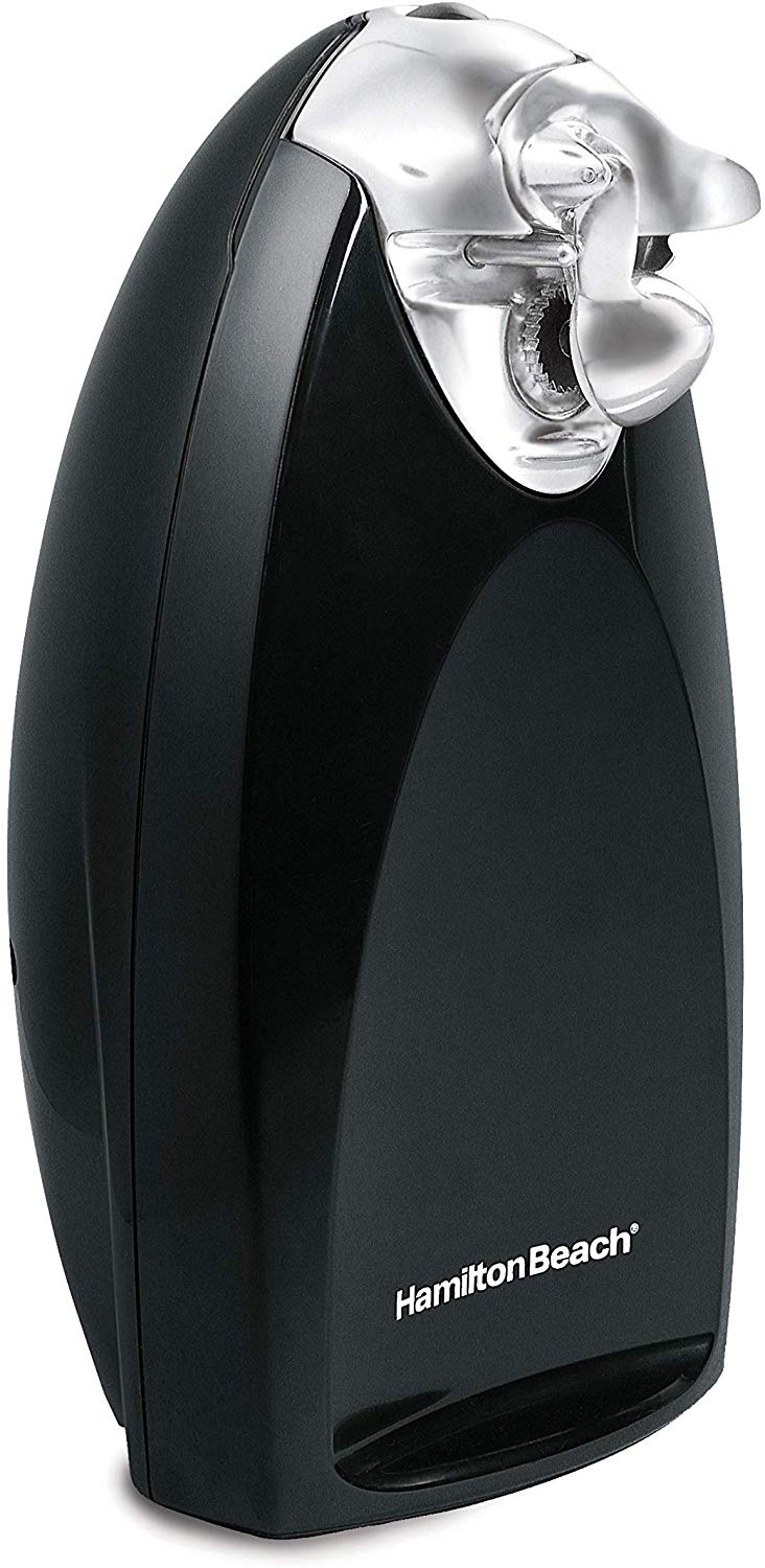 Hamilton Beach Classic Chrome Heavyweight Electric Automatic Can Opener with SureCut Patented Technology, Knife Sharpener, Cord Storage, Black (76380Z)