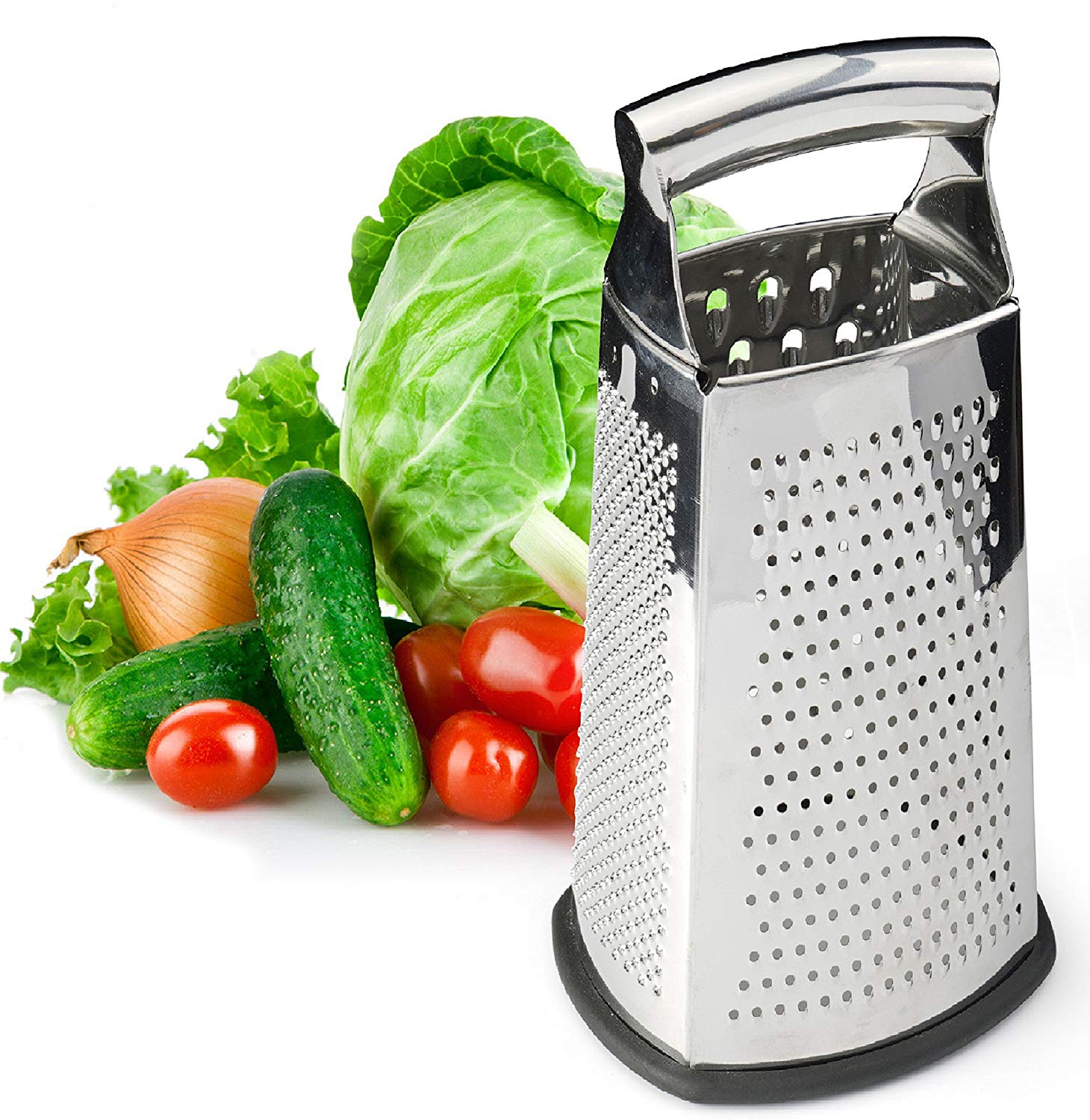 Spring Chef Box Grater, 4-Sided Stainless Steel Large 10-inch Grater for Parmesan Cheese, Ginger, Vegetables