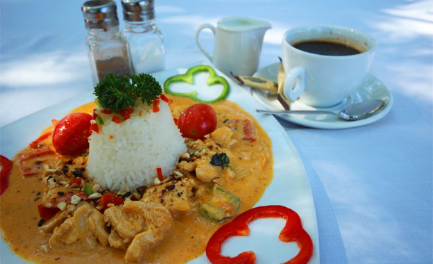 A Delicious Lunch Thai-m Meal! Pay R97 for Two Thai Red Chicken Curries and 2 filter coffees at Zest Garden Bistro, Mulderdrift
