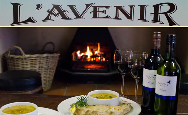 Wine Tasting, Soup & Bread for 2 PLUS a bottle of red or white wine for R95 at L'Avenir Wine Estate, Stellenbosch (value R190)