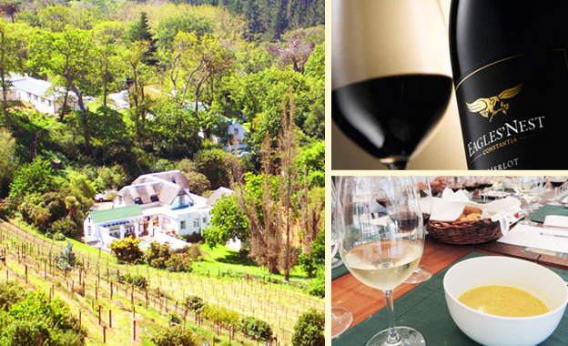 R69 for a wine tasting of 3 wines PLUS soup & ciabatta for 2 at award-winning Eagles' Nest, Constantia (value R140)