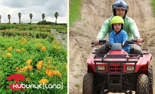 Awesome 60-min Quad bike adventure, meal AND 40-min wagon tour for R350 per person at Ludwig's Rose Farm with Kubunye Land