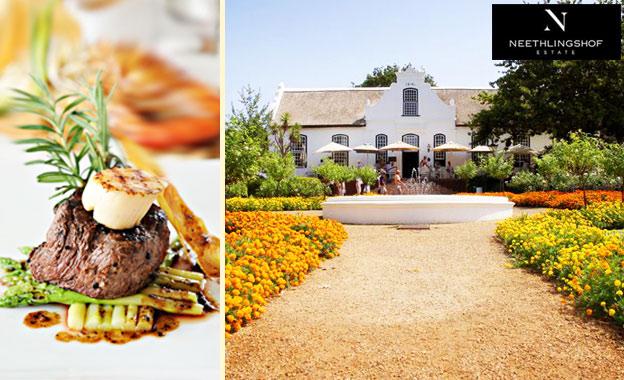 Savour 2x 250g fillet steaks for R129 at Lord Neethling Restaurant, Stellenbosch (value R260)