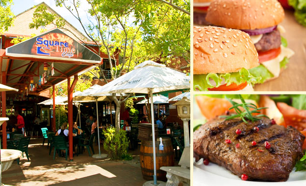 Bite into 2x Beefy Burgers (R49) OR 2x 350g Juicy Rump steaks (R95) at Square Time Café in Faerie Glen