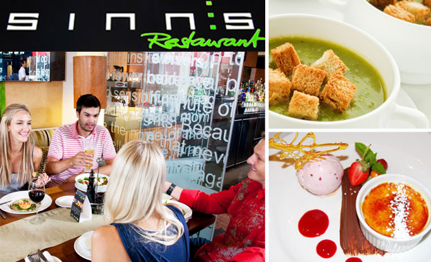 Pay R199 for a 3-course gourmet meal for 2 at Sinns Restaurant in the trendy Wembley Square, Gardens (value R398)