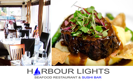 Pay R139 for 2x 300g juicy fillet steaks at Harbour Lights restaurant, overlooking the twinkling Gordon's Bay Harbour