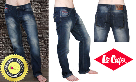 Original Lee Cooper dark blue straight cut men's jeans with faded detail and relaxed fit for R389 including delivery