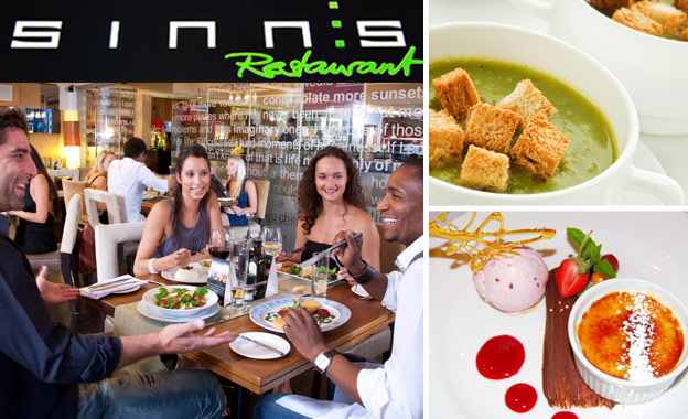 Pay R199 for a 3-course gourmet meal for 2 at Sinn's Restaurant in the trendy Wembley Square, Gardens (value R398)