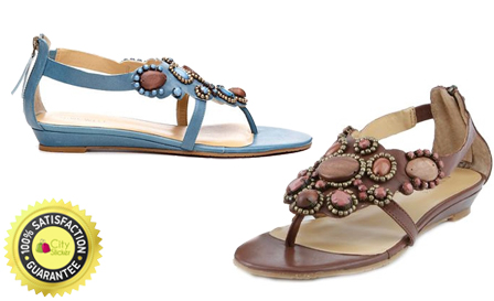 Nine West Summer sandals! Pay R449 for genuine leather embellished thong sandals (brown or turquoise) including delivery