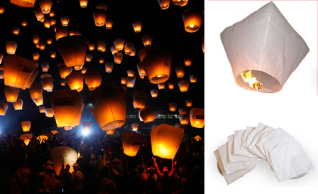 Light up the sky with a set of 20 white Chinese sky lanterns for R269 including delivery (value R560)