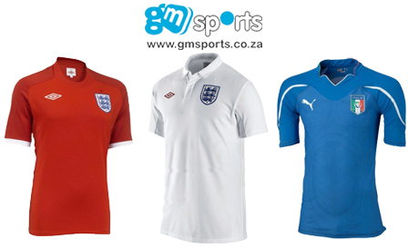 Soccer supporters rejoice! R299 for an authentic Italy (home) or England (home and away) soccer jersey including delivery