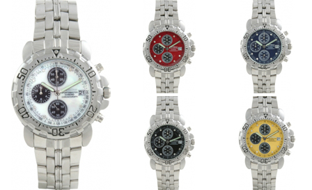 Krug Baümen Sportsmaster Diamond Chronograph watches in white, yellow, red, blue or black for R1899, PLUS delivery