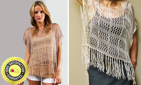 Get the summer look with authentic Indah clothing! R299 for a Gemini open weave fringe top handmade in Bali including delivery