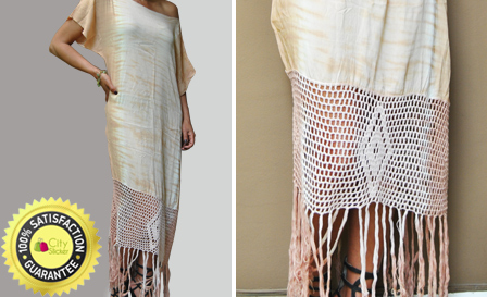 Stylish summer Zara fringe dress from Indah in chocolate or blue mirage for R459 including delivery