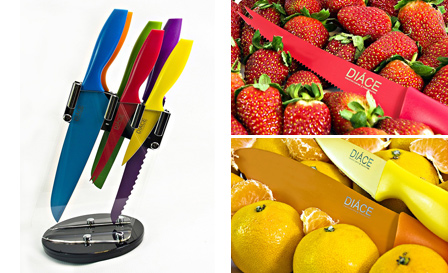 Chopping and slicing made easy! R399 for a colourful 6-piece knife set with modern 360-degree rotating stand, including delivery