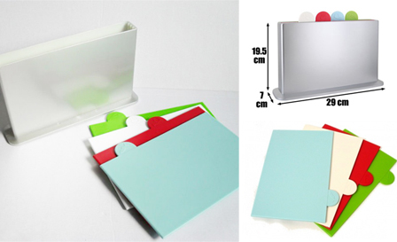 Keep your kitchen organised! R299 for 4x colour-coded index cutting mats with stand, including delivery (value R499)