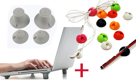 Organise your desk with a set of 12 multi-purpose cable clips PLUS Cool Feet for only R149, including delivery