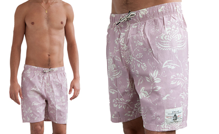 Summer Surfing! Pay R549 for a lilac REPLAY 'Sun Fun' boardshorts, including delivery
