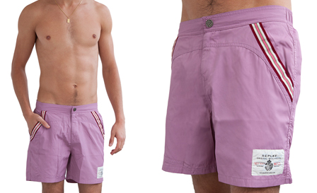 Purple Magic! Pay R449 for a purple REPLAY 'Sun Fun' boardshorts, including delivery