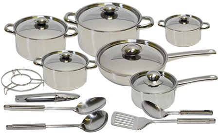 18-piece stainless steel cookware set for R699, delivery included