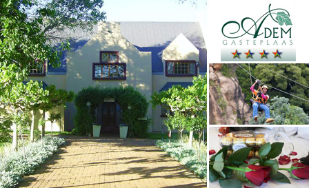 Rustenburg - Tranquil stay for 2 incl breakfast & bottle of wine from R599 per night at 4-star Adem Gasteplaas (save up to R840)