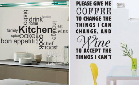 'Kitchen' or a 'Coffee and wine' wall sticker for R199, including delivery (save 50%)