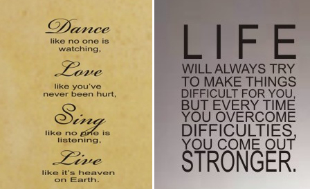'Dance, love, sing' or a 'Life' wall sticker for R149, including delivery (save 50%)